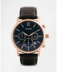 Мужские темно-коричневые кожаные часы от Sekonda