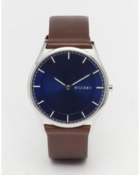 Мужские темно-коричневые кожаные часы от Skagen