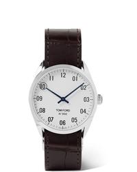 Мужские темно-коричневые кожаные часы от Tom Ford Timepieces