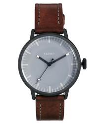 Мужские темно-коричневые кожаные часы от Tsovet