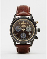 Мужские темно-коричневые кожаные часы от Vivienne Westwood