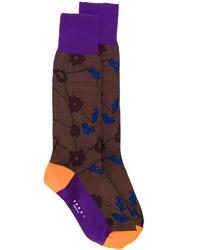 Женские темно-коричневые носки с цветочным принтом от Marni