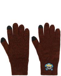 Мужские темно-коричневые перчатки от Kenzo