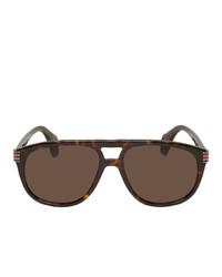 Мужские темно-коричневые солнцезащитные очки от Gucci