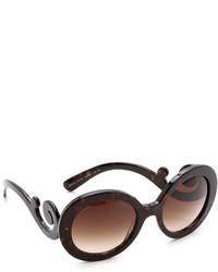 Женские темно-коричневые солнцезащитные очки от Prada