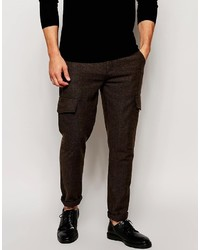"""Темно-коричневые шерстяные брюки карго с узором """"в ёлочку"""" от Asos"""