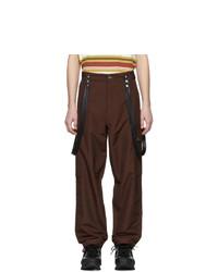 Темно-коричневые шерстяные брюки карго