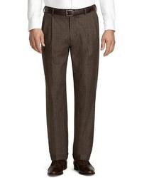 Темно-коричневые шерстяные классические брюки в шотландскую клетку