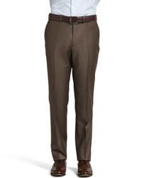 Темно-коричневые шерстяные классические брюки