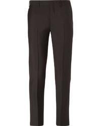 Мужские темно-коричневые шерстяные классические брюки от Prada