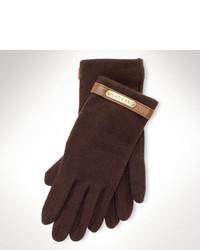 Темно-коричневые шерстяные перчатки