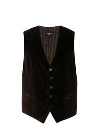 Темно-коричневый бархатный жилет