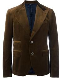 Мужской темно-коричневый бархатный пиджак от Dolce & Gabbana