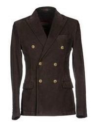 Темно-коричневый вельветовый двубортный пиджак