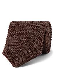 Мужской темно-коричневый вязаный галстук от Caruso