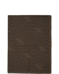 Мужской темно-коричневый вязаный шарф от Fendi