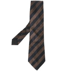 Мужской темно-коричневый галстук в вертикальную полоску