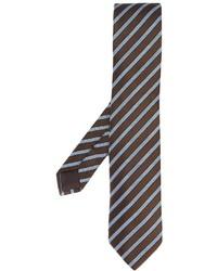 Мужской темно-коричневый галстук в вертикальную полоску от Ermenegildo Zegna