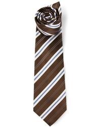 Мужской темно-коричневый галстук в вертикальную полоску от Kiton