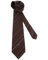 Мужской темно-коричневый галстук в вертикальную полоску от Pierre Cardin