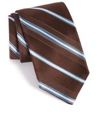 Темно-коричневый галстук в горизонтальную полоску