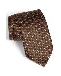 Темно-коричневый галстук в горошек