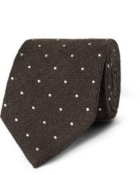 Мужской темно-коричневый галстук в горошек от Dunhill