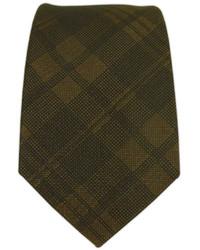 Темно-коричневый галстук в шотландскую клетку