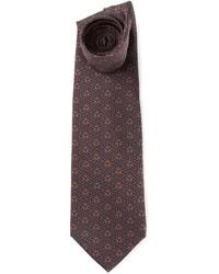 Темно-коричневый галстук с принтом