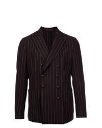 Темно-коричневый двубортный пиджак в вертикальную полоску