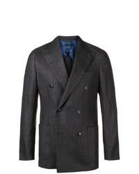Темно-коричневый двубортный пиджак в клетку