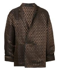 Мужской темно-коричневый двубортный пиджак в клетку от Haider Ackermann
