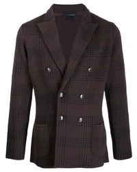 Мужской темно-коричневый двубортный пиджак в клетку от Lardini