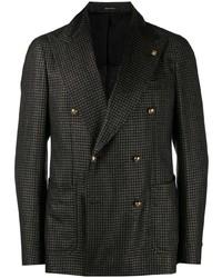 Мужской темно-коричневый двубортный пиджак в клетку от Tagliatore