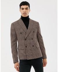 Мужской темно-коричневый двубортный пиджак в шотландскую клетку от ASOS DESIGN
