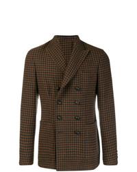 Мужской темно-коричневый двубортный пиджак в шотландскую клетку от The Gigi