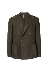 Мужской темно-коричневый двубортный пиджак от Dell'oglio