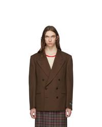 Мужской темно-коричневый двубортный пиджак от Gucci