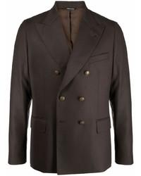 Мужской темно-коричневый двубортный пиджак от Reveres 1949