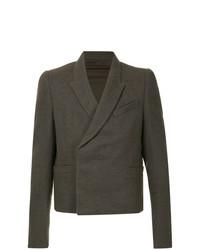 Мужской темно-коричневый двубортный пиджак от Rick Owens