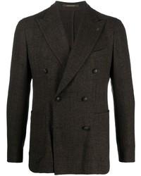 Мужской темно-коричневый двубортный пиджак от Tagliatore