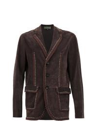 Темно-коричневый замшевый пиджак