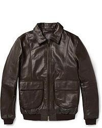 Темно-коричневый кожаный бомбер