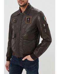 Мужской темно-коричневый кожаный бомбер от Aeronautica Militare