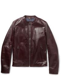 Мужской темно-коричневый кожаный бомбер от Dolce & Gabbana