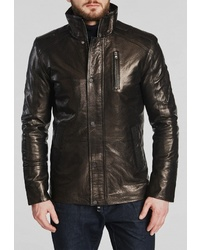 Мужской темно-коричневый кожаный бомбер от Mondial