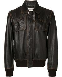 Мужской темно-коричневый кожаный бомбер от Saint Laurent