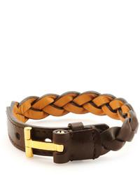 Темно-коричневый кожаный браслет