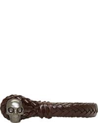 Мужской темно-коричневый кожаный браслет от Alexander McQueen