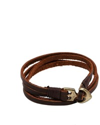 Мужской темно-коричневый кожаный браслет от Asos